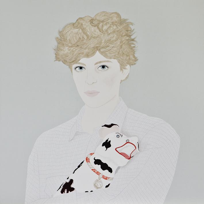 Constanza Alberione- Autoretrato con perro 59 x 59 cm